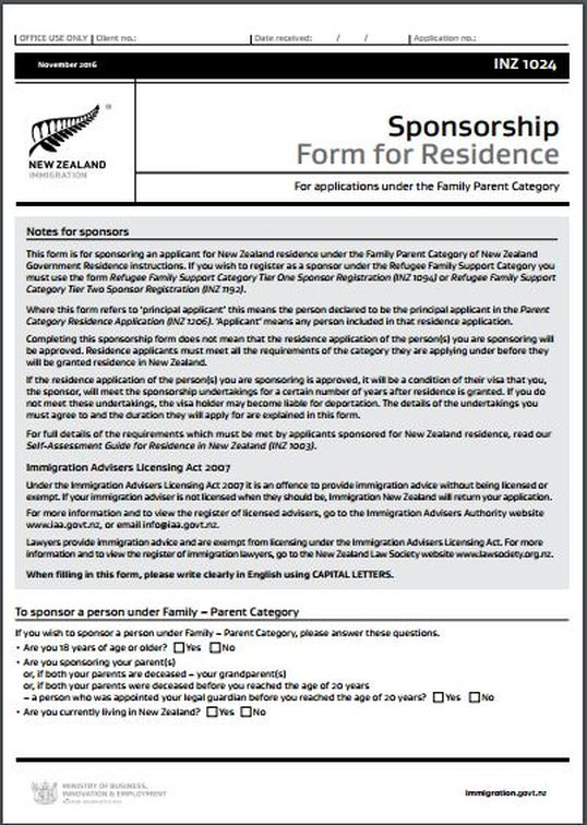 Inz1024 Sponsorship Form For Residence - All Immigration Matters