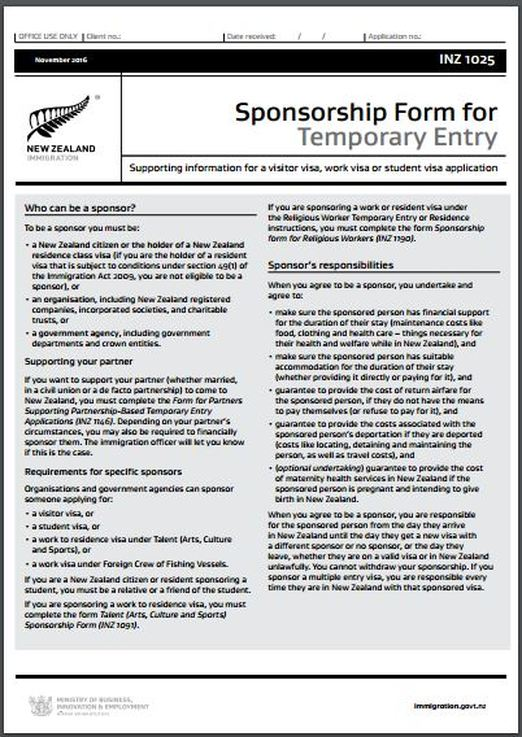 Inz1025 Nz Sponsorship Form For Temporary Entry - All Immigration