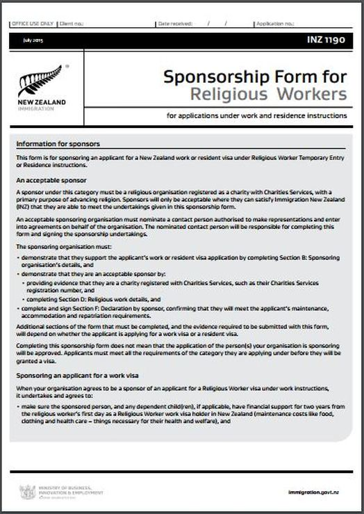 Inz1190 Sponsorship Form For Religious Workers - All Immigration