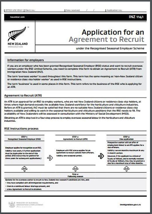 Inz1141 Application For An Agreement To Recruit All Immigration