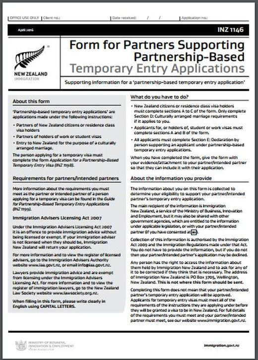 INZ1146 Form for Partners Supporting Partnership-Based Temporary ...