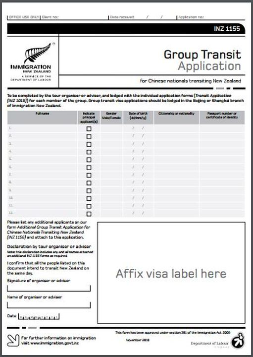 INZ1155 New Zealand ​​Group Transit Application Form www.immigrationtrust.co.nz