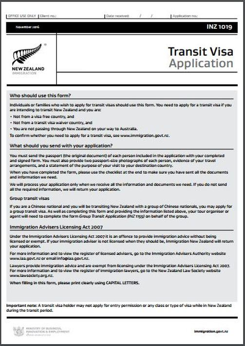 INZ1019 New Zealand ​Transit Visa Application Form www.immigrationtrust.co.nz