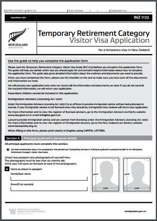 INZ1172 New Zealand Temporary Retirement Category Visitor Visa Application Form www.immigrationtrust.co.nz